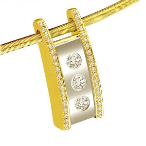 Surat Diamond Triple Shine 0.59ct Two Tone Chic Diamond Pendant For Your Lady Love P1327