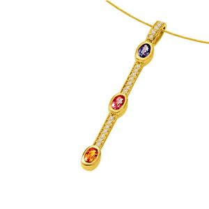 Surat Diamond A Golden Stich Forever0.55ct Tcw Diamond Ruby Emerald & Sapphire Stick Shaped Long 18kt Pendant P1329