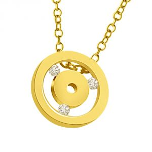 Surat Diamond Two Gold Circles Interspaced With Diamond 18kt Yellow Pendant P1331