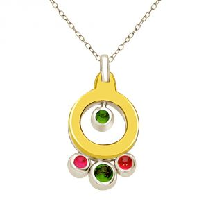 Surat Diamond Shades Of Stones Emerald & Ruby 18kt Yellow Gold Round Two Tone Diamond Pendant P1332