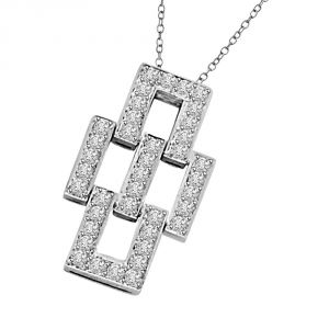 Surat Diamond Awesone Bonding 0.30ct Geomatrical Shaped 14kt White Gold Diamond Pendant P1338