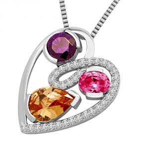 Diamond Amethyse Tourmaline & Golden Topaz White Gold Pendant P1343