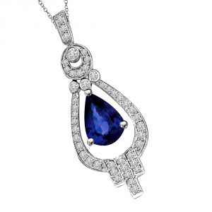 Surat Diamond Pride Of Groom White & Blue Saphire & Diamond 14k White Gold Drop Shaped Love Pendant P1346