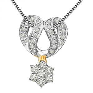Surat Diamond Dazzling Chakra 0.60ct Mangalsutra Design Two Tone Diamond Pendant For Your Wife P1347