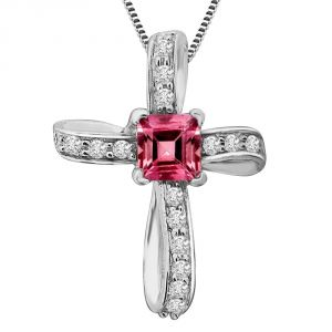Surat Diamond Every Women Dream 0.41ct Beautiful Pink Tourmaline And Clean White Diamond 14kt Pendant P1348