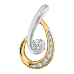 Surat Diamond Magic Hopper Two Tone Diamond Small Solitaire Pendant For Your Love P1351