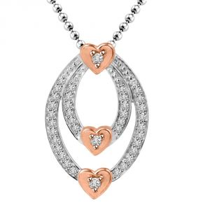 "Surat Diamond Angel""s Heart Pink Heart Gold & Diamond Very Very Stylish Pendant For Your Love P1353"