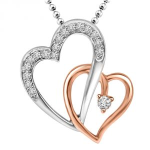 Fasense,Flora,Triveni,Valentine,Surat Diamonds,Clovia Women's Clothing - Surat Diamond Forever In My Heart Pink & White Gold Diamond Heart Pendant For Your Sweetheart P1355