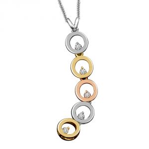 Surat Diamond 5 Circles Of Life Diamond & Two Tone Gold Pendants P1357