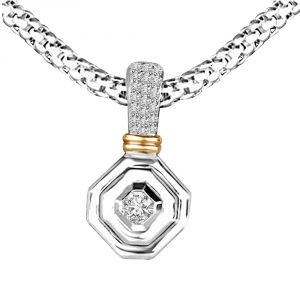 Surat Diamond Gracious Curve 0.20ct Two Tone Diamond In Hexagone Gold Pendant For Her P1358