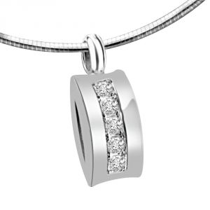 Surat Diamond Dazzling Attraction 0.10ct White Gold & 5 Diamonds In Row Pendant For Your Love P1359