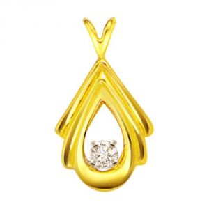 Surat Diamond Pear Goddess 0.10ct Diamond Solitaire Pendant P427