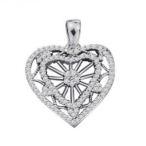 "Rcpc,Jpearls,Surat Diamonds,Clovia,Jharjhar Women's Clothing - Surat Diamond A Queen""s Heart 1.00ct Diamond White Gold Heart Pendant P469"