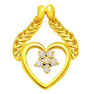 Surat Diamonds Diamond Pendants, Sets - Surat Diamond A Heart to Flatter 0.06ct Diamond Yellow Gold Pendant P470