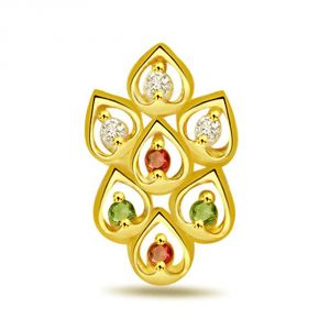 Surat Diamond Leaves Of Desire Fancy Diamond ,ruby & Emerald Pendant P490