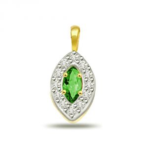 Rcpc,Kalazone,Jpearls,Surat Diamonds,Port Diamond Jewellery - Surat Diamond Oval Shape Diamond & Emerald Pendant P509