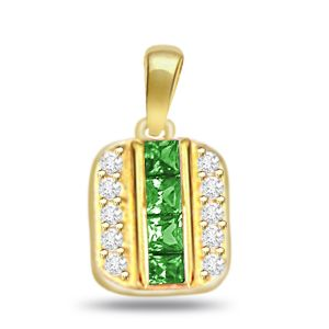 Surat Diamond 0.20ct Diamond & Lustrous Emerald Gold Pendant P514