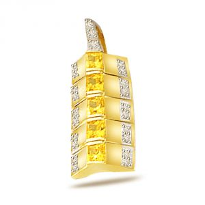 Surat Diamond Golden Sunshine - 0.15ct Diamond Gold Pendant P539