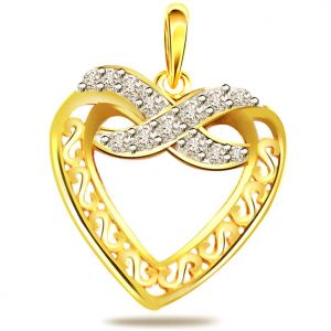 "Surat Diamond It""s My Heart - 0.10ct Diamond Heart Shape Gold Pendant P540"