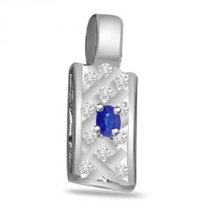Rcpc,Sukkhi,Tng,La Intimo,Surat Diamonds,Diya Women's Clothing - Surat Diamond Blue Blossom - 0.16ct Diamond & Sapphire 14kt Gold Pendant P541