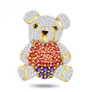 Rcpc,Kalazone,Jpearls,Surat Diamonds,Port Women's Clothing - Surat Diamond Teddy Bear 0.75ct Diamond Pendant P554