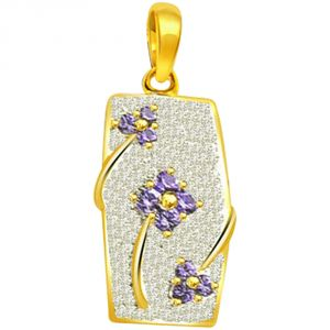 Triveni,Pick Pocket,Jpearls,Surat Diamonds Women's Clothing - Surat Diamond Blue Flower Glitter - 0.70ct Trendy Diamond & Sapphire 18kt Gold Pendant P557