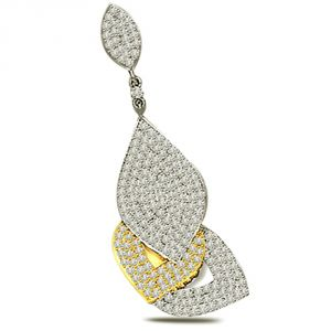 Surat Diamond Leaves Of Fortune - 1.00 Cts Diamond Two Tone Pendant P581