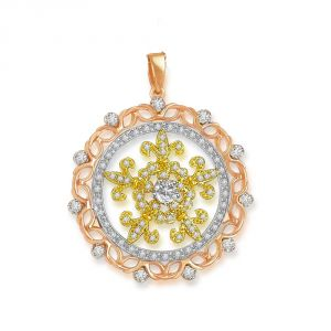 Triveni,Pick Pocket,Jpearls,Surat Diamonds,Arpera,Estoss,Bagforever,Shonaya,Clovia Women's Clothing - Surat Diamond Tricolour Circle of Love - 1.00 cts 18K Gold Diamond Pendant P639