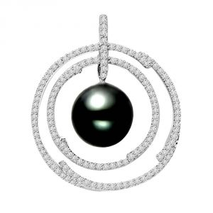Fasense,Triveni,Pick Pocket,Platinum,Surat Diamonds Women's Clothing - Surat Diamond Hoops of Love - 0.75 cts Diamond & Tahitian Pearl 14K Pendant P650