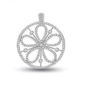 Surat Diamond Petals Of Desire - 0.90 Cts White 14k Flower Diamond Pendant P657
