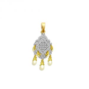 Surat Diamond Pearly Chandelier Delight - 0.35 Cts Diamond & Drop Pearl 18k Pendant P659