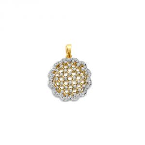 Surat Diamond 0.66 Cts Two Tone Flower Diamond Pendant P660