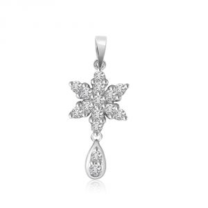 Surat Diamond Passionate Floral Drop - 0.30cts White 14k Flower Diamond Pendant P661