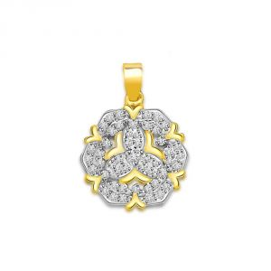 Surat Diamond 0.75 Cts Two Tone 18k Flower Diamond Pendant P663