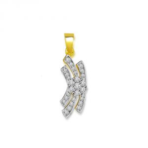 Surat Diamond 0.30 Cts Two Tone Flower Diamond 18k Pendant P665
