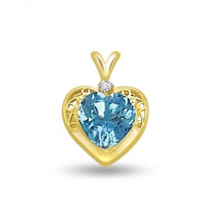 Kiara,Flora,Triveni,Valentine,Surat Diamonds,Clovia Women's Clothing - Surat Diamond Heart Shape Blue Topaz & Diamond Pendant P682