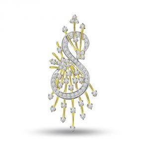 Rcpc,Kalazone,Jpearls,Surat Diamonds,Port,Ag Diamond Jewellery - Surat Diamond Stylish Sea Horse - S-Shape Two Tone 18K Diamond Pendant P696