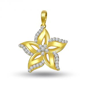 Surat Diamond 0.30 Cts Starflower Diamond 18k Pendant P698