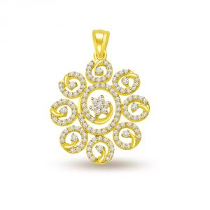 Triveni,Pick Pocket,Jpearls,Surat Diamonds,Arpera,Estoss,Bagforever,Shonaya,Clovia Women's Clothing - Surat Diamond 0.60 cts Diamond & Gold Sun Flower Pendant P699