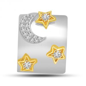Surat Diamond Moon & Shining Stars Two Tone Diamond & 18kt Gold Pendant P718