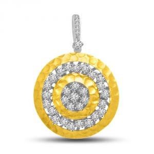 Rcpc,Ivy,Soie,Surat Diamonds,Port,Bikaw Women's Clothing - Surat Diamond Fireball Design Diamond & Gold Pendant For The Lovely Lady In Your Life P720
