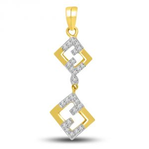 Rcpc,Ivy,Soie,Surat Diamonds,Port Women's Clothing - Surat Diamond Love In The Air Diamond & Gold Pendant For Her P722
