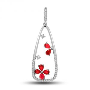 Diamond & 14kt White Gold & Ruby Pendant P733