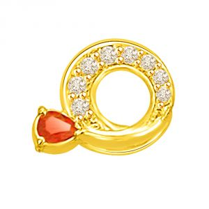 Surat Diamond 0.31 Tcw Circular Diamond And Ruby Pendant In 18kt Gold P751