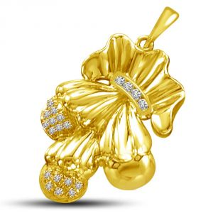 Surat Diamond Couple Charm 0.10ct Stylish Diamond & Gold Pendant P846