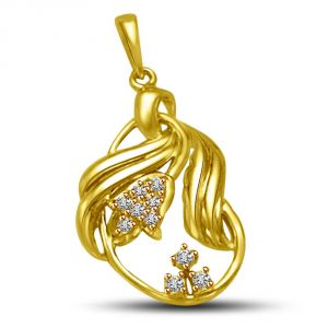 Surat Diamond Sparkling Golden Twist 0.06ct Diamond &18kt Gold Leaf Pendant For My Love P890