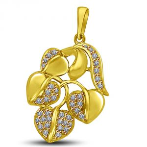 Surat Diamond Leaf Shaped Pave Set Gold & Diamond Pendant Fot My Love P895