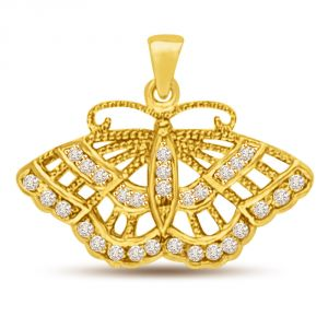 Surat Diamond 0.29ct Diamond Butterfly 18k Gold Pendant For My Love P970