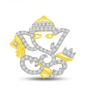 Kalazone,Jpearls,Surat Diamonds,Port Women's Clothing - Surat Diamond VIGHNAHARTA Diamond & Gold Ganesha Pendant P982