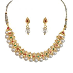 Surat Diamond Traditional Coloured Stone & Shell Pearl Set Ps134